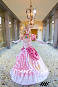 Super Mario Bros Peach Princess Peach Dress Cosplay Costume