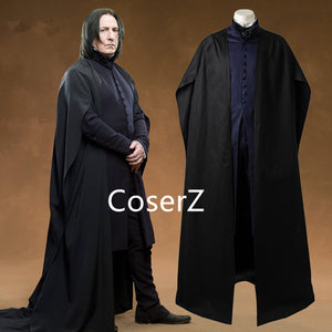 Custom Professor Severus Snape Cosplay Costume Cloak Black Robe Adult