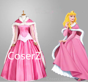 Custom Sleeping Beauty Princess Aurora Dress Cosplay Costume With Cape