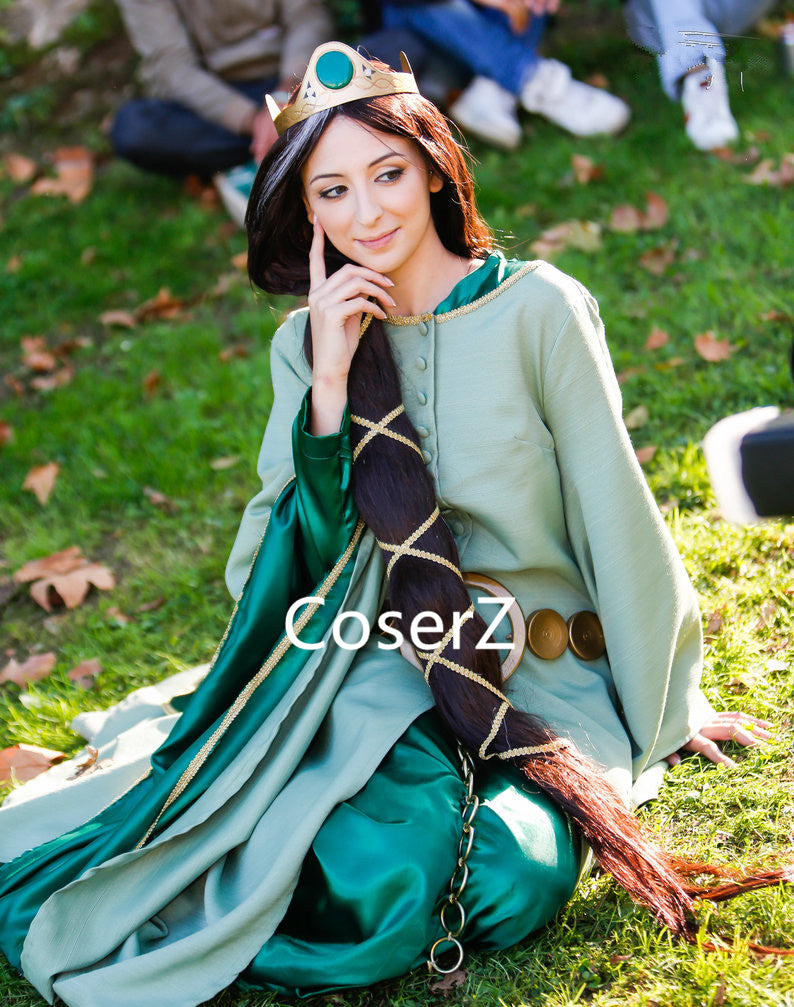 Brave Queen Elinor Costume for Adults, Queen Elinor Blue Dress Cosplay Costume for Women Without Accessories