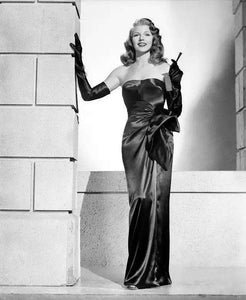 Rita Hayworth Black Dress with Long Gloves in Gilda 1946