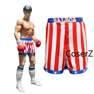 Rocky Balboa Apollo Movie Boxing American Flag Cosplay Shorts Robe Boxing Costume Robe and Shorts