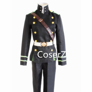 Custom Seraph of the end Yuichiro Hyakuya Cosplay Costume with Coat Strap Belt Pants Military Suit