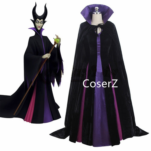 Sleeping Beauty Luxury Maleficent Cosplay Costume Evil Queen Cosplay Dress with Cape