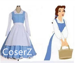Custom-made Belle Blue Maid Dress, Princess Belle Blue Dress Costume