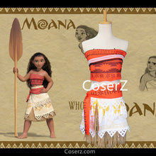 Kids Moana Costume, Moana Dress, Moana Cosplay Halloween Costume for Girls