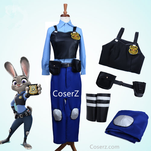 Zootopia Rabbit Bunny Officer Judy Hopps Costume Uniform Outfit