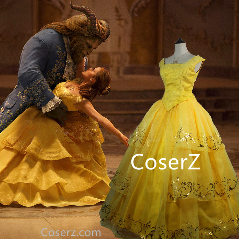2017 Moive Beauty And The Beast Belle Dress Princess Top Quality Cosplay Costume