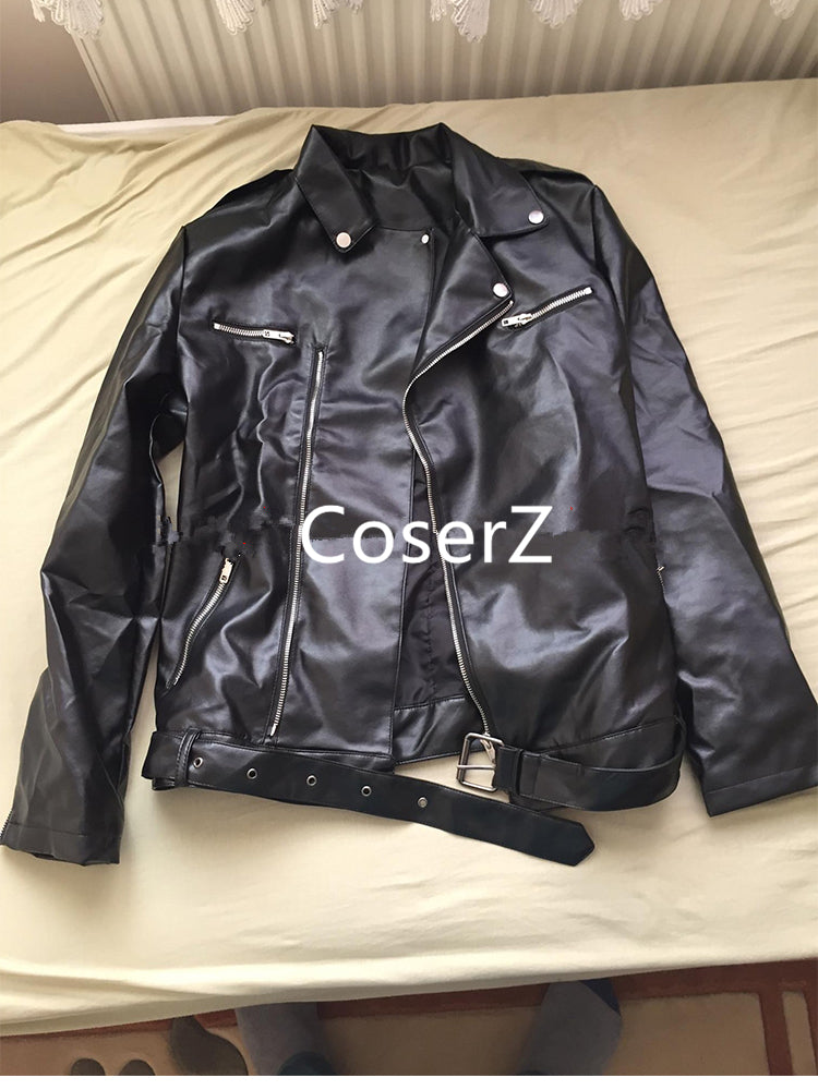 54533c10f The Walking Dead 7 Cosplay Costume Negan Black Leather Jacket
