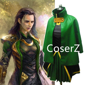 Thor Female Loki Cosplay Costume Leather Dress With Cloak For Women