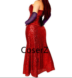 Who Framed Roger Rabbit Jessica Cosplay Costume Jessica Dress with gloves