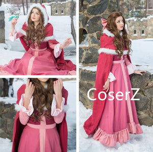 Winter Belle Red Dress, Belle Pink Dress, Belle Cosplay Costume with Cape