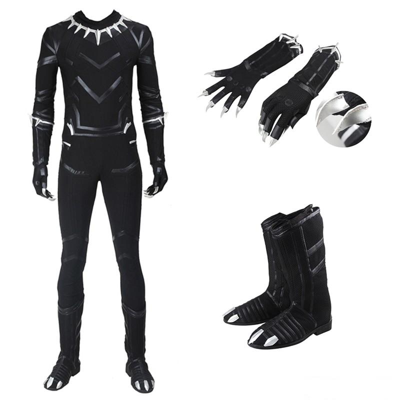 Captain America Civil War Black Panther T'Challa Cosplay Costume with Boots