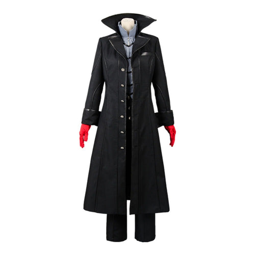 Persona 5 Joker Anime Cosplay Full Set Black Long Jacket Trench Outerwear