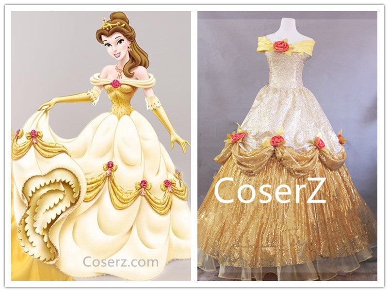 Custom Belle Dress, Beauty and the Beast Belle Cosplay Costume Halloween Costume