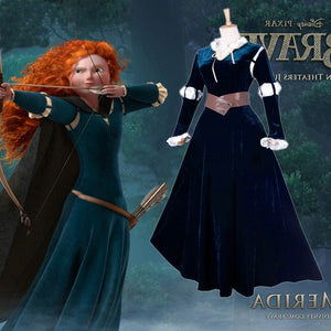 Brave Costume, Merida Costume, Merida Dress with Black Cape