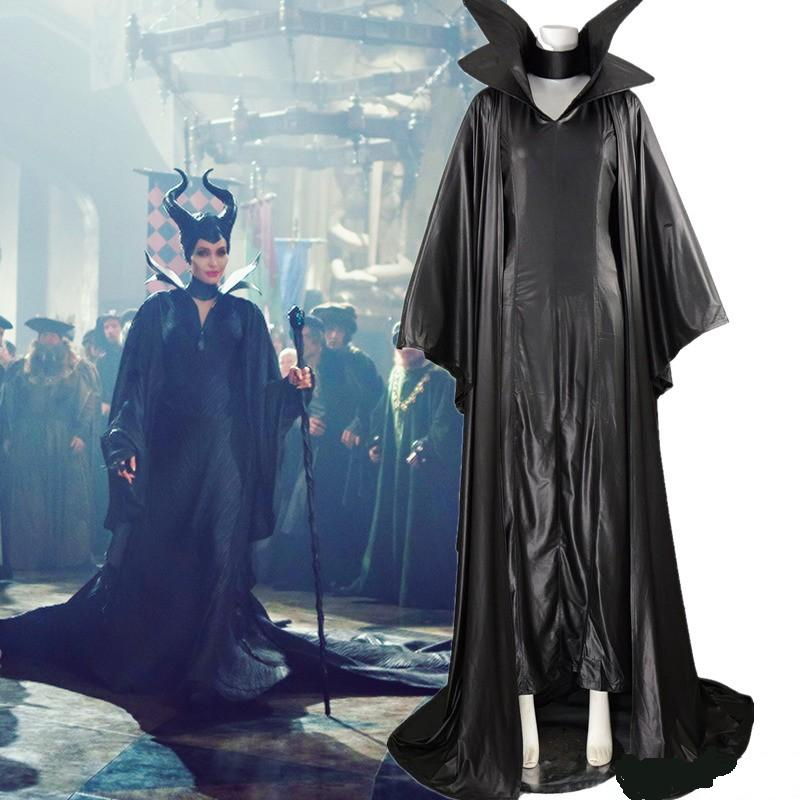 Maleficent Costume Angelina Jolie Black Witch Cloak Dress Cosplay Costume