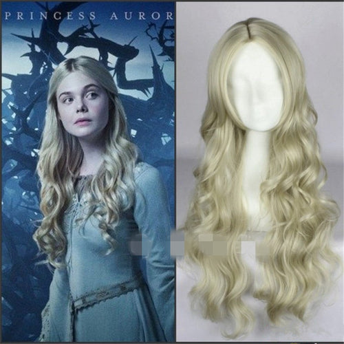 Maleficent Princess Aurora Cosplay Wig Wavy Ash Blonde Wig