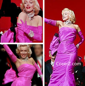 Marilyn Monroe Pink Dress With Bow Gloves Cosplay Costume from Diamonds Are a Girl's Best Friend