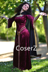 Tangled Mother Gothel Costume,Mother Gothel Cosplay Dress with Cape