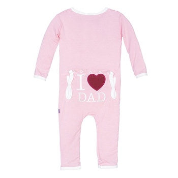 """I Love Dad"" Applique Coverall"