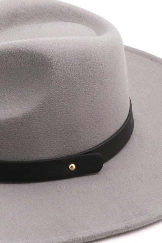 Grey Wide Brim Felt Hat With Band