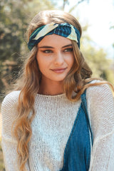 Navy Leaf Twist Hair Wrap