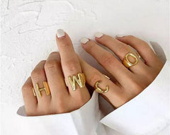 Chunky Gold Initial Ring