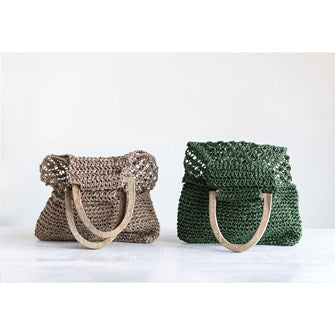 Woven Jute Palmas Handbag w. Wooden Handle
