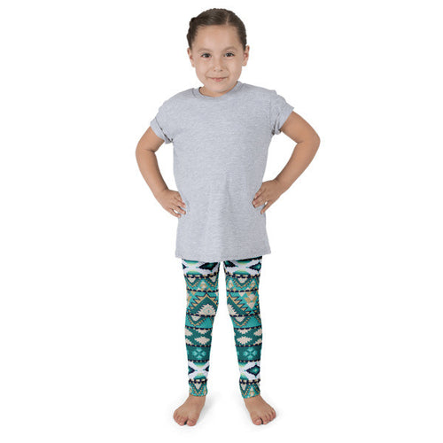 Green Aztec Kid's leggings