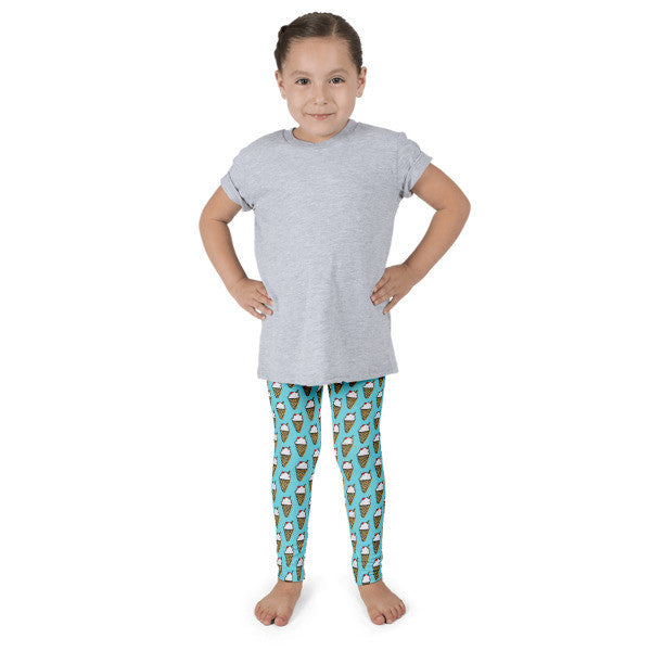 Ice Cream Cones & Teal Kid's leggings