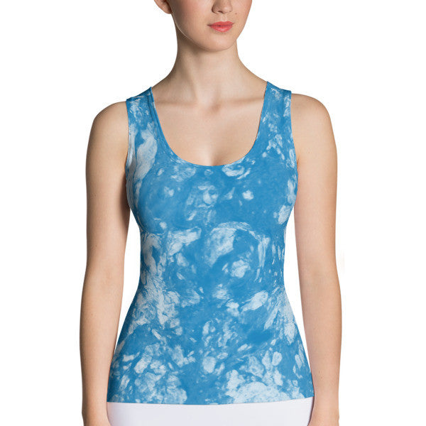 Marbling In Blue Performance Tank Top