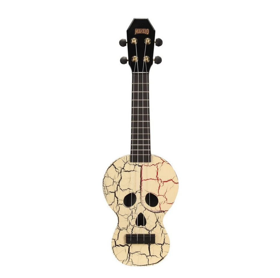 UKULELE SOPRANO CREATIVE SKULL, WHITE, WITH BAG MC1SKwt MAHALO