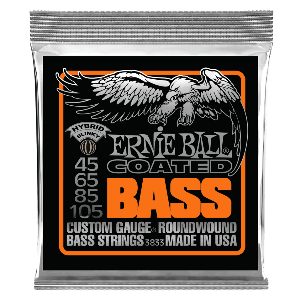 SET DE 4 CUERDAS  PARA BAJO ELECTRICO ERNIE BALL SLINKY COATED CALIBRE 45/10