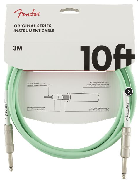 CABLE INSTRUMENTO 3MTS SURF GREEN  990510058 FENDER