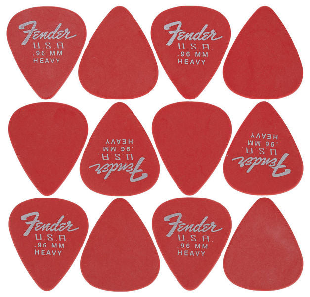 PICKS FENDER DURA-TONE CALIBRE .96 -  12 UND ROJO