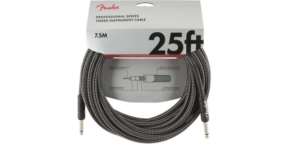 CABLE PARA INSTRUMENTO PROFESIONAL SERIES INSTRUMENT CABLE, 25', GRAY TWEED 990820071 FENDER