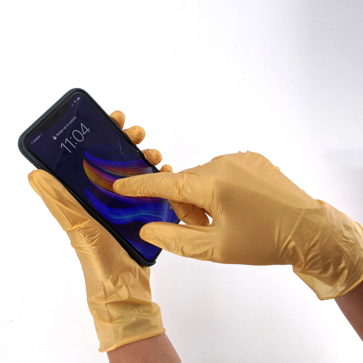 Golden Glow Shimmery Nitrile Gloves