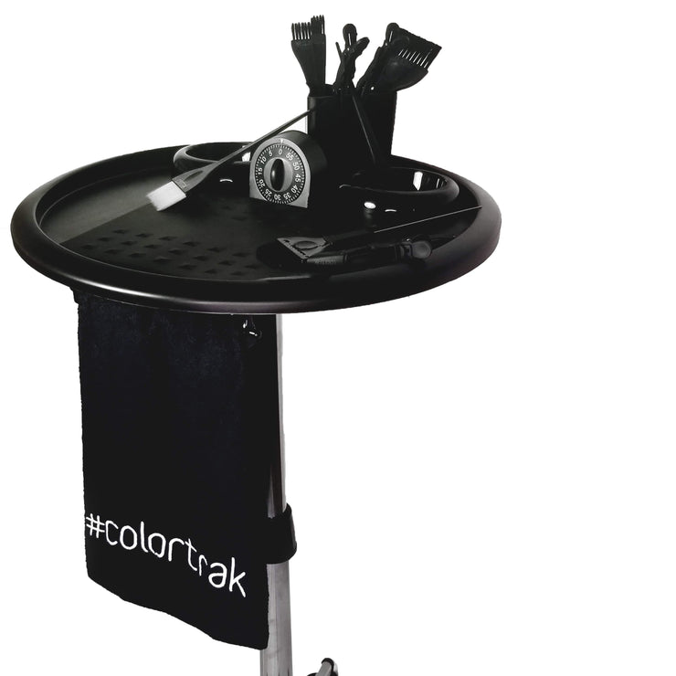 Salon Tray with Bleach-Proof Towel | Colortrak Bleach-Proof Salon Towel on Rack Color Station