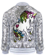 Silver sequin jacket with white and rainbow unicorn on the back