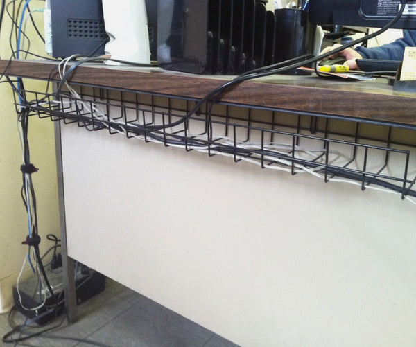 under desk wire cable tray oranizer for cord and cable management in use on desk CT9436