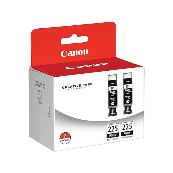 Canon PGI-225 Black Ink Cartridges, Standard, 2Pack (4530B007)