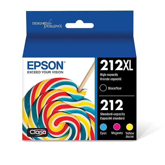 Epson T212XL Black High Yield, CyanMagentaYellow Standard Ink Cartridges, 4Pack (T212XL-BCS)
