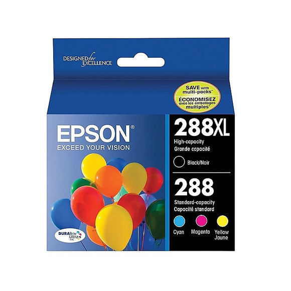 Epson 288288XL BlackColor Ink Cartridges, Standard, 4Pack (T288XL-BCS)