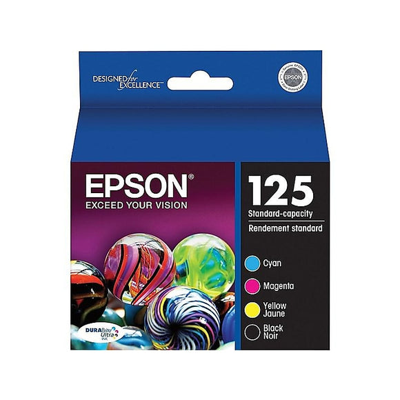 Epson 125 BlackColor Ink Cartridges, Standard, 4Pack (T125120-BCS)