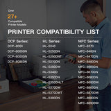 Compatible Toner Cartridge Brother TN580 TN650 TN550 TN620 High Yield 2 Pack