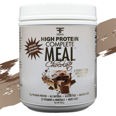 Complete Meal is an all-natural meal replacement packed with 100% premium protein, chia superfood, brown rice, essential vitamins, and minerals all in a great tasting 163 calories, less than 1 gm of sugar per serving! It comes in 4 delicious flavors, Caramel Caffe, Peach Mango, Chocolate, and Orange Creamsicle.