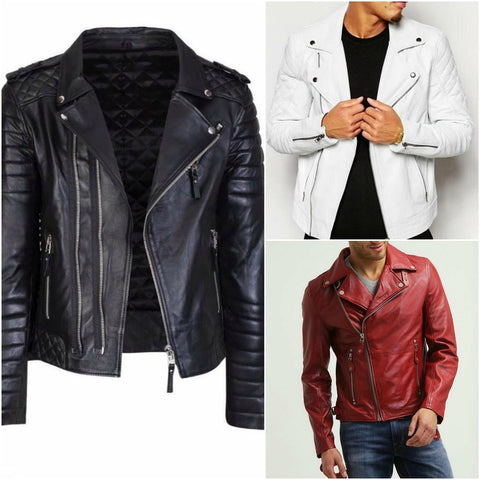 men leather jacket qiamond quilted a65f06cb5