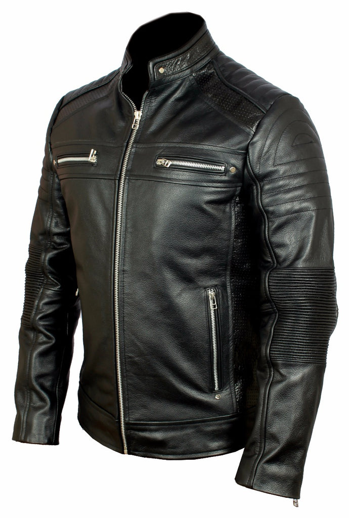 dfb86112a Mens Real Leather Biker Jacket Black Cafe Racer Vintage Style