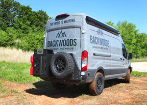 Ford Transit van Backwoods Adventure Mods' Nomad Series Rear Swing Out Bumper.